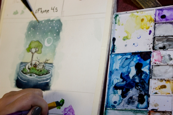 Many students have ben experimenting with mixed media pieces. This water colour painting will be enhanced in photoshop.